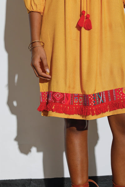 Embroidered Dress with Tassel Lace Details