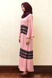 Peach Abaya With Lace - Immediate Shipping - Order Now