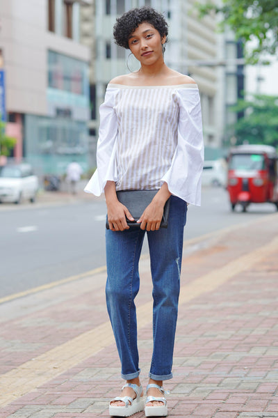 Possitive Lines off Shoulder Dress