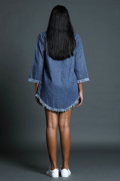 Denim turtle neck dress