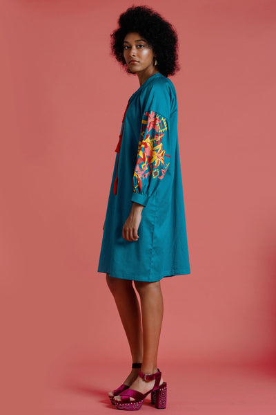 Skies Over Mojave Long Sleeves Dress With Print