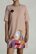 Load image into Gallery viewer, Queen Of Spade Shift Dress - Beige