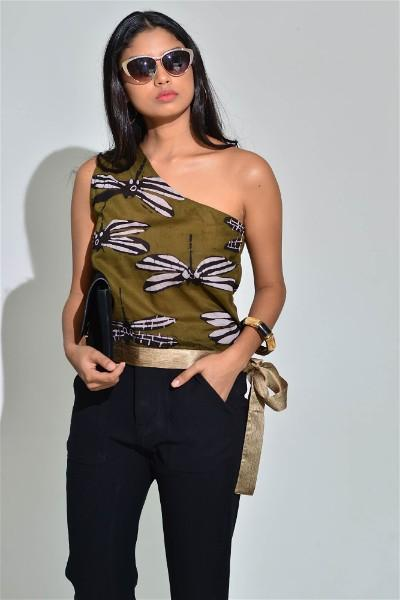 One Shoulder Batik Top