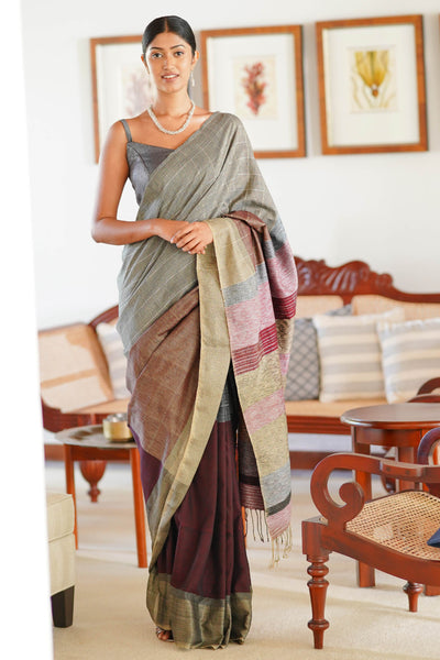 Urban Drape Greyed Raindow Saree