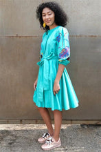 Load image into Gallery viewer, Foliole Aqua Tie Waist Dress