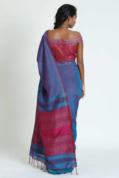 Urban Drape Teal Plum Saree