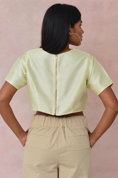 Raw Silk Crop Blouse
