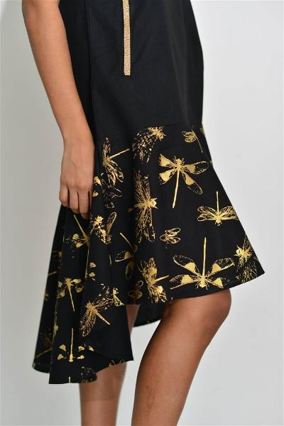 Aurelio Flown Black Dress with Print