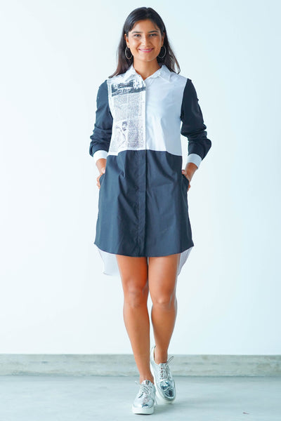 News Paper Printed Oversized Shirt Dress