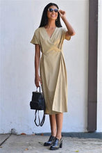 Load image into Gallery viewer, Beige Wrap Pleat Dress
