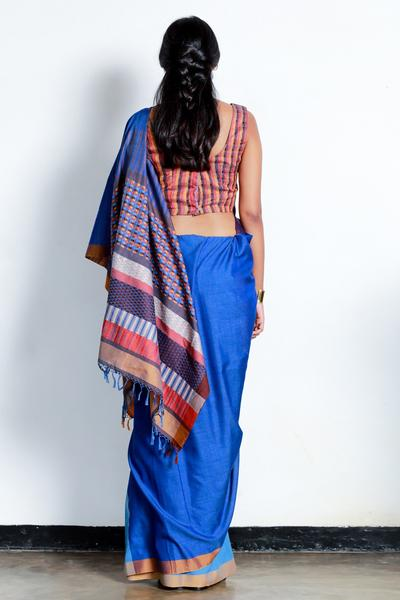 Urban Drape Blue Shadow Tribe Saree