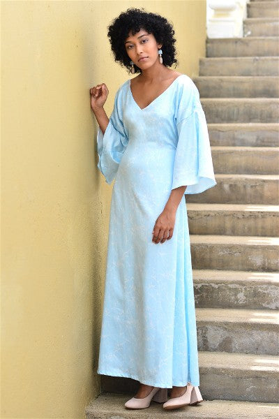 Cerulean Back Self Tie-Up Maxi Dress