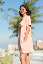 Load image into Gallery viewer, Retro Hipster Dusty Pink T-shirt Dress