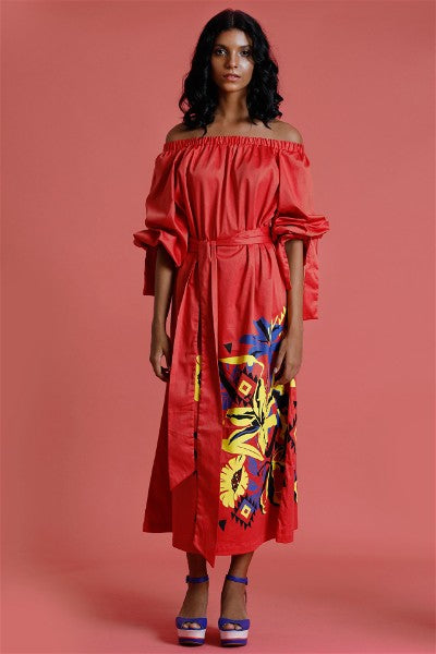 Dune'rose off shoulder Maxi dress with print