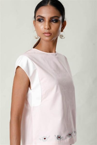 Embroidered Cap Sleeve Top - Pink