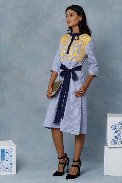 Emira Striped  Blue Shirt Dress With Print