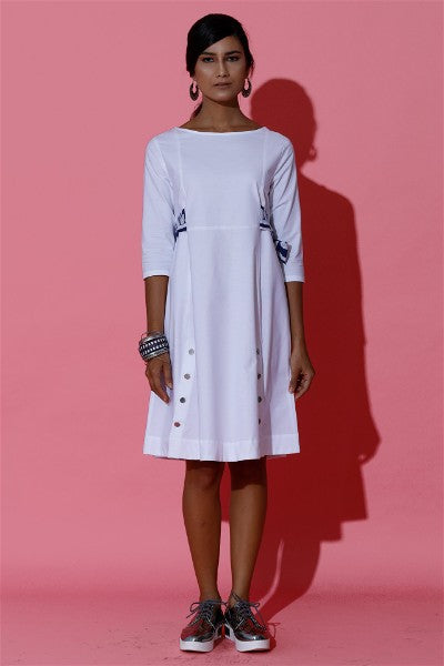 Flaired White Mini Dress with Batik Tie Up