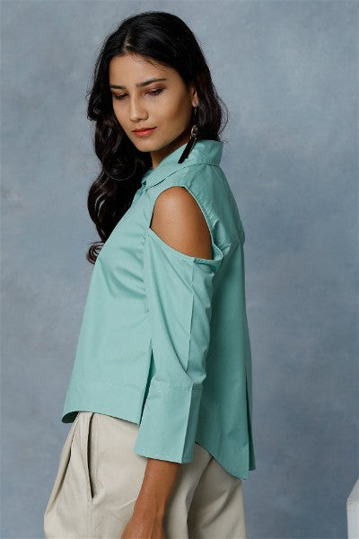 Floral Mint Green Cold Shoulder Shirt