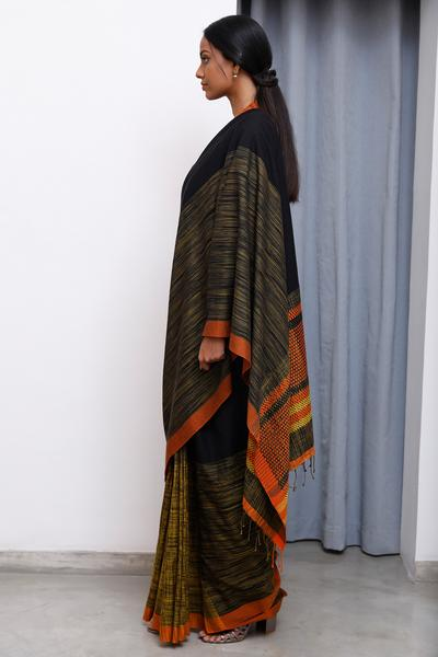 Urban Drape Golden Clouds - Tie Dye Hand Woven Saree