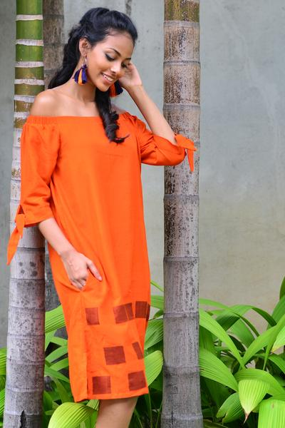 Handloom off shoulder dress