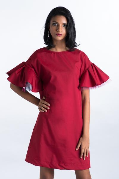 Maroon Shift dress with Tulle sleeve