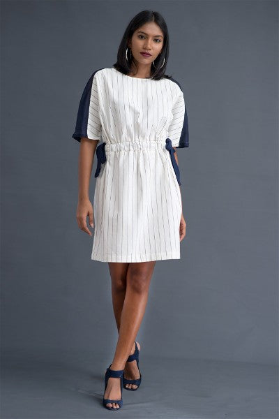 Mesh Panel Linen Tie- Up Dress