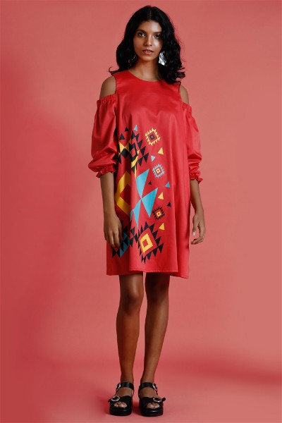 Navajo Rosso ? Printed cold shoulder dress
