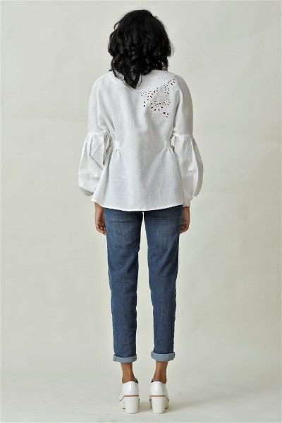 On Cloud 9 Embroidered Puff Sleeve Top V2