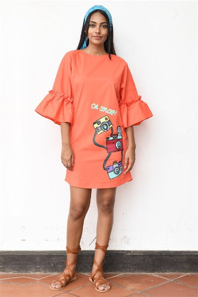 Retro Camera Orange Shift Dress