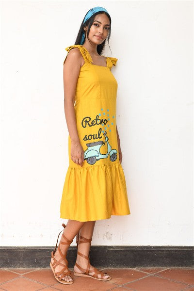 Retro Scooter Tie- up Midi Dress V1