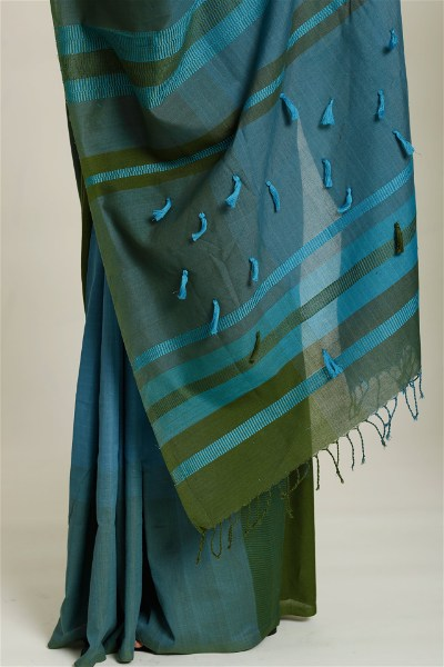 Urban Drape Sea Green Saree