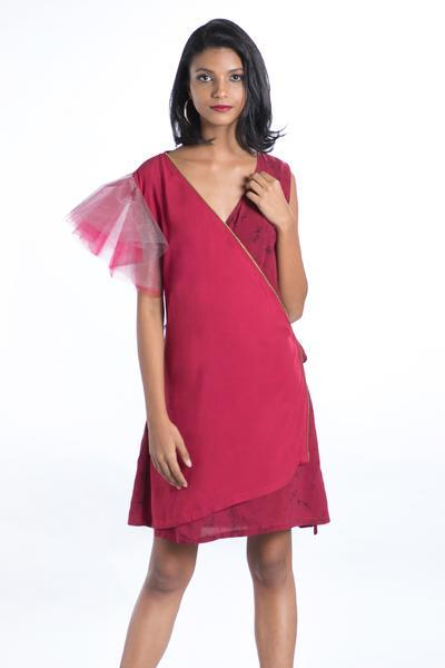 Tulle Sleeve Maroon Wrap Dress