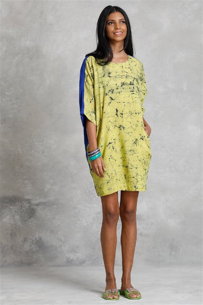 Two Tone Butterfly Sleeve Batik Dress
