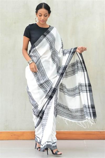 Urban Drape Ivory Grid Saree