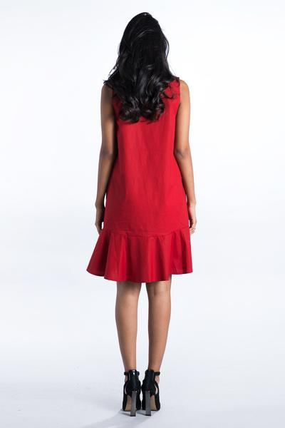 V Neck Punk Red Frill Dress