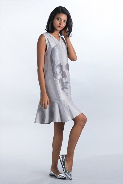 V Neck Punk Silver Frill Dress