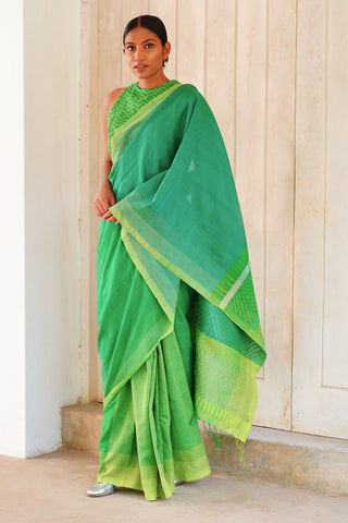 Urban Drape Tropical Fern Green Saree