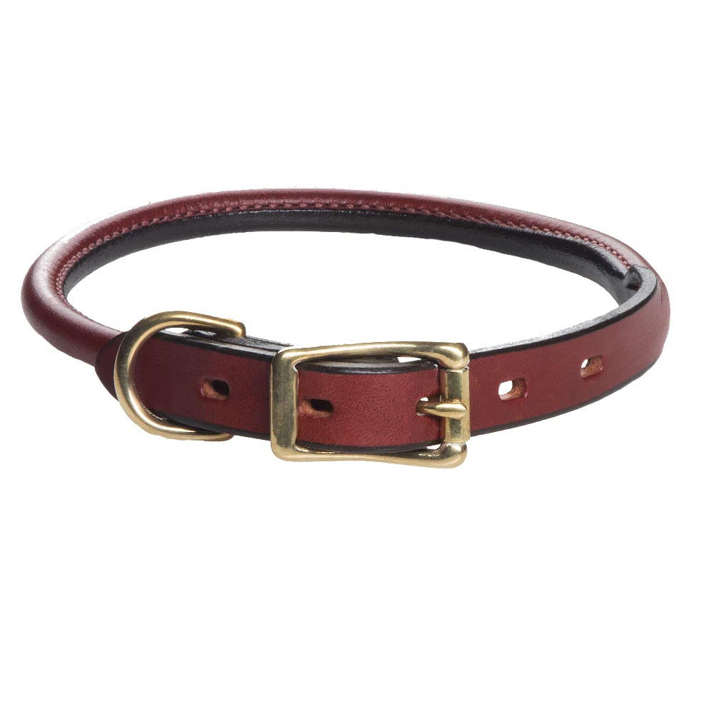 Leather Rolled Collar - Chestnut