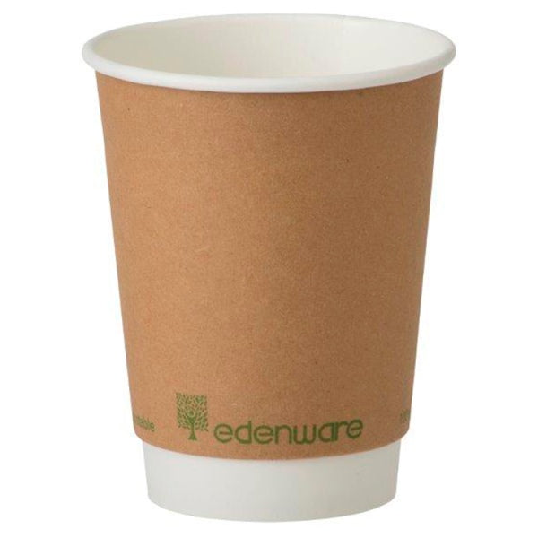 Edenware 12oz PLA Lined Compostable Double Wall Cups - 500 Pack