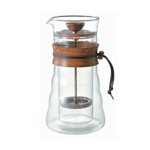 Hario Double Glass Olive Wood Coffee Press 400ml - 3 Cup