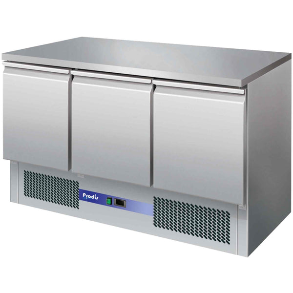 Prodis EC-3SS 3 Door Compact Saladette Counter, Flat Top