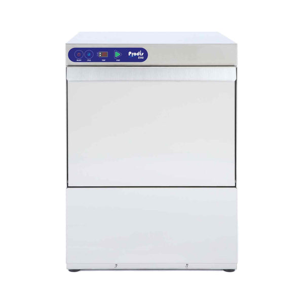 Prodis EV40S, 400mm Heavy Duty Electronic Commercial Glasswasher, Automatic Water Softener, Drain Pump