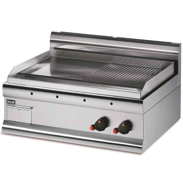 Lincat Silverlink 600 Half Ribbed Steel Griddle 7.5kw - Natural Gas - 750w x 650d x 415h - GS7R/N