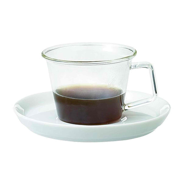 Kinto Cast Glass Espresso Cup and Saucer - 90ml - 3oz