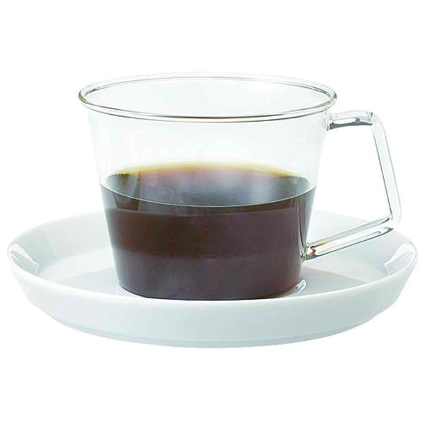 Kinto Cast Glass Coffee Cup and Saucer - 220ml - 8oz