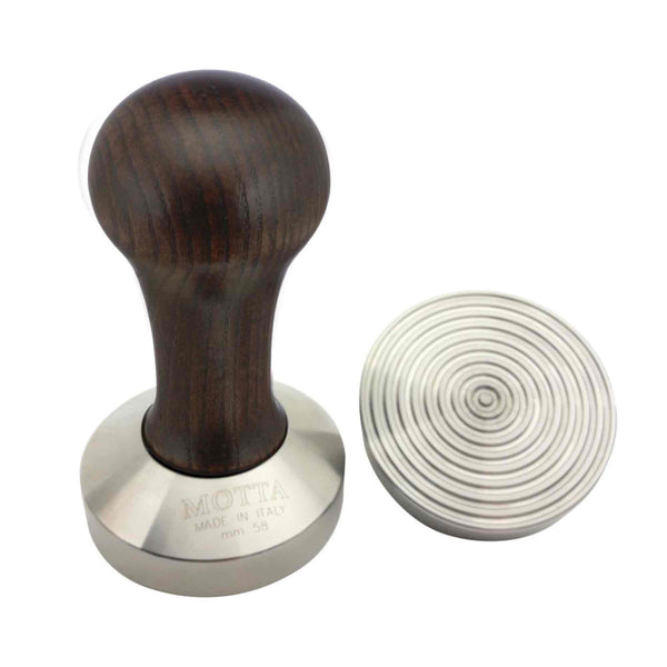 Motta Brown Wooden Tamper - Stainless Steel Wave Base - 58mm