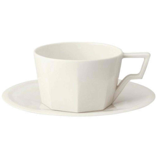 Kinto Oct Porcelain Cup and Saucer - White - 8oz