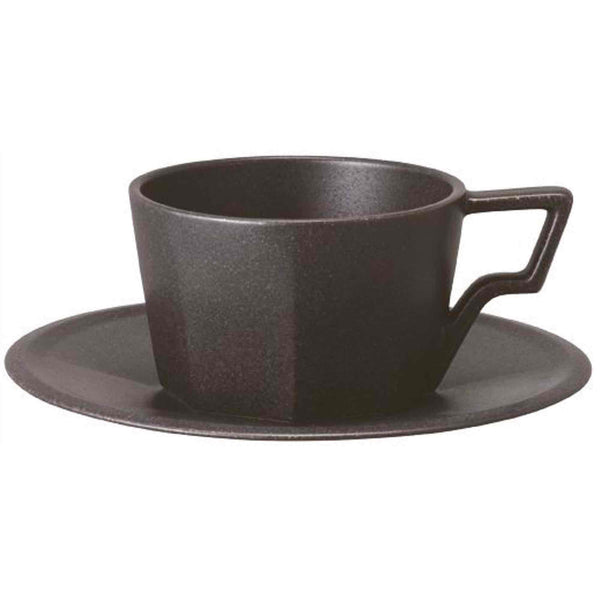 Kinto Oct Porcelain Cup and Saucer - Black - 8oz