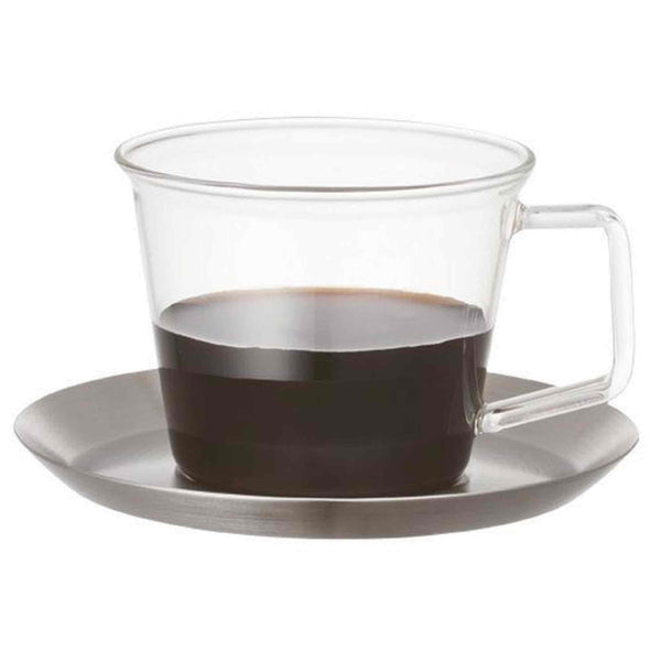 Kinto Cast Glass Coffee Cup and Saucer Stainless Steel - 220ml - 8oz