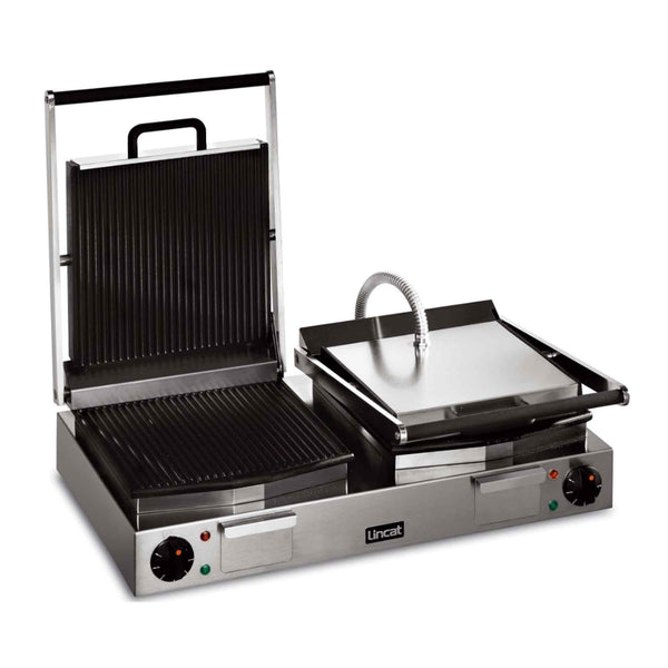 Lincat Lynx 400 Twin Enamelled Cast Iron Contact Grill Ribbed Base & Ribbed Top - LPG2 - 623mm